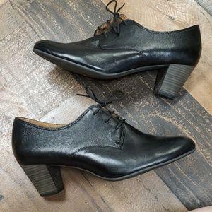 Tamaris Heeled Black Leather Loafer Sz 12